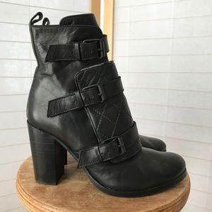 All Saints size 40 black leather 3 buckle bootie